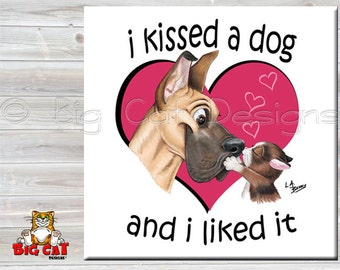 KISSED A DOG tile,  Cat kissing Great Dane.  Cat Spoon Rest. Cat Sign, Cat Friendship Gift, Cat Lover Gift.  Funny Cat Gift.