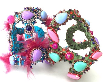 Avantgarde Statement Bracelet, blue,green, pink, purple, rhinestone fantasy couture, pink and orange tones