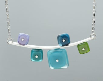 Bar Necklace - Colorful Glass Necklace, Blue, Turquoise, Aqua, Teal, Green, Purple, Square, Modern Statement Necklace