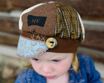 Child Jax Hat -  cowboys horseshoes retro print flannel hat - Montana love Jax Hat - hat for boy - hat for girl - Cowgirl hat - horses hat