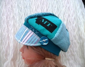 Jax Hat Child size - Teal and white hat -  upcycled hat - recycled - chemo hat - child hat - boy hat- Montana hat - girl hat - recycled hat