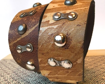 Leather Dog Collar with Bike Chain Links and Studs, Size L, to fit a 18-21in Neck, Large Dog, EcoFriendly, USA Handmade by Greenbelts, OOAK