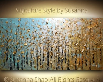 ORIGINAL Large Abstract Aspen Trees Impasto Landscape, Textured Contemporary Fine Art, Modern Palette Knife Paintings by Susanna Shap