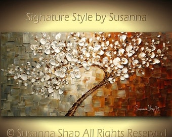 original large rustic abstract white tree cherry blossom oil painting palette knife thick texture by susanna ready to hang 48x24