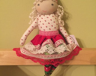 SARA, a Christmas Kindness Elf from MiaLa Nordic Holiday Collection 2016. Blonde haired softie girl doll.