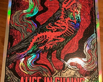 Alice In Chains Rainbow Foil Variant Crow Dinosaur Bones Skeleton Jerry Cantrell Layne Staley GIGART Poster 2016