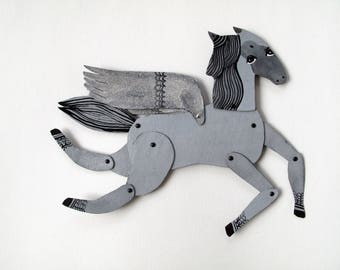 Grey and Silver Winged Mini Horse / makeforgood  / Hinged Beasts Series