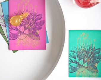 Water Lily Greeting Card Romantic Card Floral Greeting Card Lotus Flower Card Gift Ideas Gift for Her Silk Screen Print Gocco Print Cards