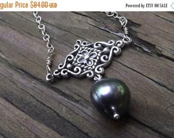 Peacock freshwater pearl silver necklace - elegant - handmade - unique designer necklace