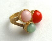 Picnic Multi Gemstone Ring, Gold Vermeil Setting in an Adjustable size...