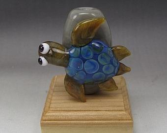 ON SALE Handmade Lampwork Glass Turtle Focal Bead by Jason Powers SRA