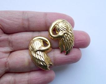 Swan goldtone stud earrings
