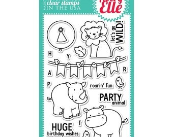 Avery Elle Clear Photopolymer Rubber Stamp Set - wild birthday