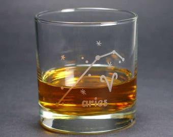 Aries Zodiac Constellation lowball glass