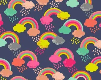 Makower UK for Andover FABRIC - Fantasy - Rainbow Clouds - Multi
