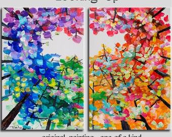 Looking Up, Original acrylic painting, Tree art, modern art, wall art, stretched canvas art, colorful aspen painting by tim Lam 48x36