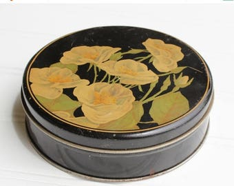 BIG SALE - Vintage Tin with Hand Painted Dogwoods - 1940s - Black Cream Green