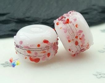 Lampwork Beads Valentine Blossom Beads, red, pink, valentine, cherry red, cranberry