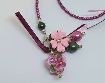 Cranberry Pink Heart Lampwork Handmade Bead Beaded Bookmark Book Thong