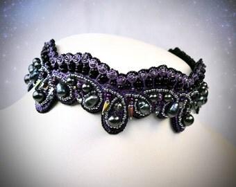 Gothic choker - Black crystal choker- choker collar - black lace choker - statement choker - goth choker - goth 90s choker - thick choker