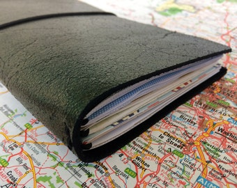 Leather Traveler's Notebook - Fauxdori - Midori Compatible - Black Gold Leather Cover with 3 Inserts - 21 x 11 cm
