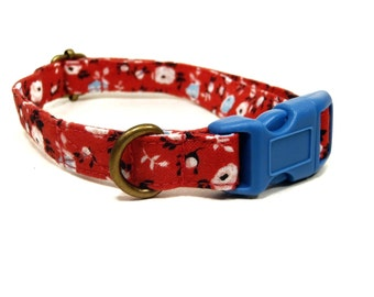 Little Miss - Red Pink Light Blue Florals Flowers Organic Cotton CAT Collar Breakaway Safety - All Antique Brass Hardware