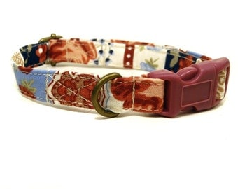 Morocco - Bohemian Cream Blue Dusty Rose Floral Flowers Striped Organic Cotton CAT Collar Breakaway Safety - All Antique Brass Hardware