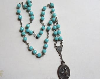 Vintage Aqua Blue Glass Chaplet Devotional to Saint Anthony/Saint Francis of Assisi/Miraculous Medal, Patron Saints