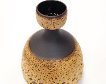 Ships Now-  stoneware wheel thrown Hive vase with fat lava ochre glaze on raw black clay by sarapaloma