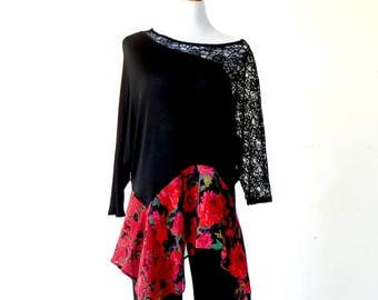 XL~ Plus Size ~ Asymmetric Black Lace & Red Roses Top / Tunic ~ gypsy lagenlook handmade upcycled clothing boho chic hippie wearable art