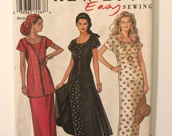 New Look 6230, Womens Dress Pattern, Jumper Dress, Sewing Pattern, Pull Over Dress, Apron, Over Skirt, Plus Size 12-14-16-18-20-22-24, UNCUT