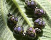 Lampwork perles/sra au chalumeau/perles/artisan au chalumeau/dragon écailles argent feuille /