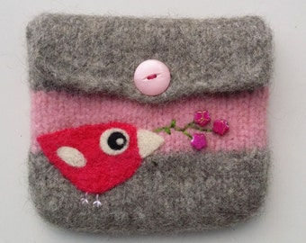 Felted pouch gray pink wool bag cozy hand knit needle felted fuchsia pink birdie flowers