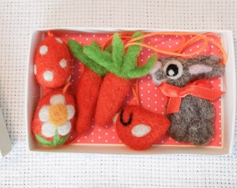 Set of six handmade wool needlefelted Easter decoration ornament bunny egg carrot birdie bird