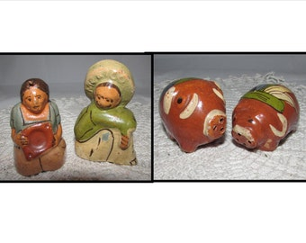 TWO Pair Vintage Souvenir Handmade Red Clay Salt & Pepper Shakers, Mexican Man Woman, Pigs, 50s, Collectible, home decor, Mexico