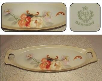 Vintage R S, Reinhold Schlegelmilch, German Hand Painted Porcelain Relish Dish Tray, 40s, Germany, Dogwood flowers orange