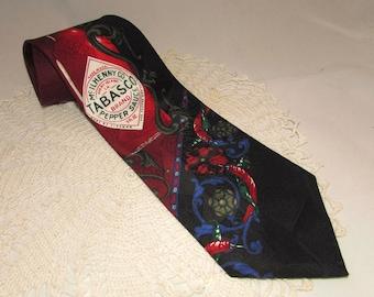 Vintage Silk Necktie, Tabasco Brand Pepper Sauce, Mens Tie, novelty, hot sauce, advertising, black, red