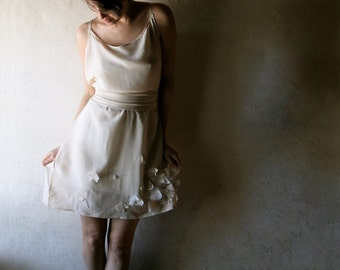 Short wedding dress, Silk wedding dress, Slip wedding dress, Ivory wedding dress, reception dress, Alternative wedding dress, Tunic dress