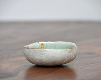 SALE Sea Urchin Ceramic Bowl - Blue Gold Ring Dish Salt Dish Small Ceramic Bowl Foodie Gift Mom Gift