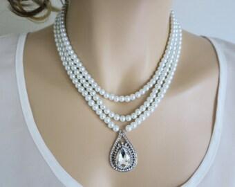 Bridal Statement Necklace Swarovski Pearl and Crystal Wedding Jewelry Cubic Zirconia Framed Drop Rhinestone Pearl Bridal Jewellery Vintage