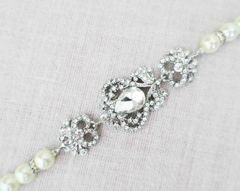 Pearl Wedding Bracelet, Bridal Bracelet, Wedding Jewelry, Pearl Bridal Bracelet, Vintage Bridal Jewelry, Bridesmaid Bracelet, Crystal Sukran