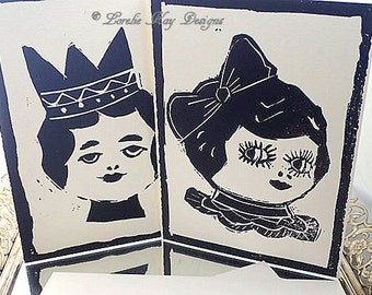 Dolly Greeting Cards Set Hand Carved Lino Block Hand Printed Print Block Art Lot 3 Lorelie Kay Original