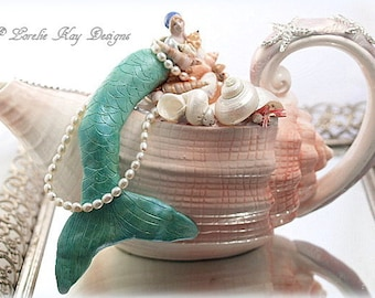 Sculpted Mermaid Teapot Shell Ocean Theme Teapot Mixed Media Assemblage Art Media Media Lorelie Kay Original