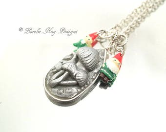 Gnome & Mushrooms Charm Necklace Tiny Gnomes Silver Mushrooms Forest Pendant Lorelie Kay Designs