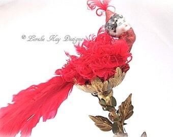 Ruby Fantasy Bird Art Doll Sculpture Nature Theme Bird Doll OOAK Sculpted Assemblage Doll Lorelie Kay Designs