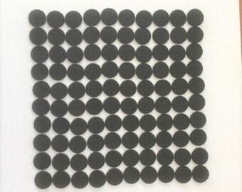 Wool Felt Dots / Circles - Black - Size .50 inch - Quantity 100