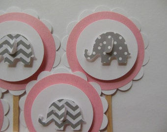 Elephant Cupcake Toppers - Pink, Gray Polka Dots and Gray Chevron - Girl Baby Showers - Girl Birthday Party Decorations - Set of 6