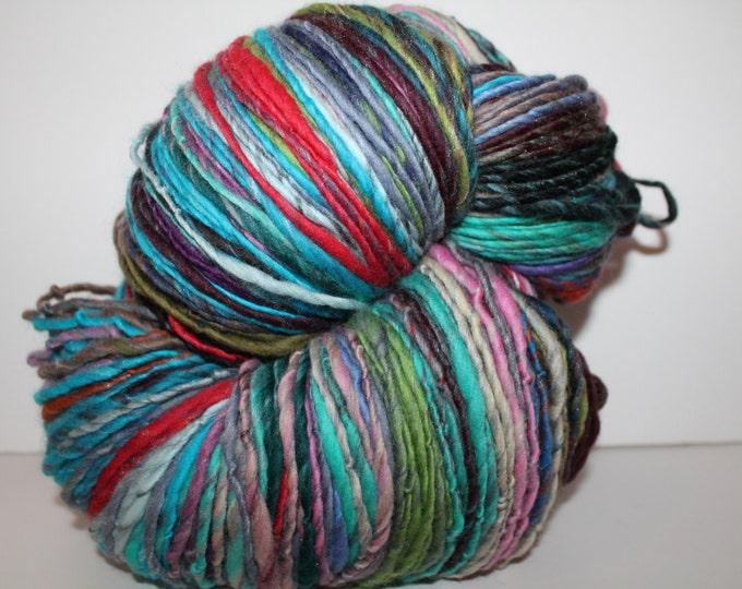 Handspun Merino Wool Yarn.  Single Ply Worsted Weight. Huge Skein. 1lb 8oz. 770 yards