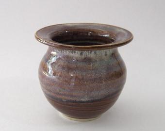 Ikebana Vase with Pin Frog - Shorter Version - Coffee Latte Glaze