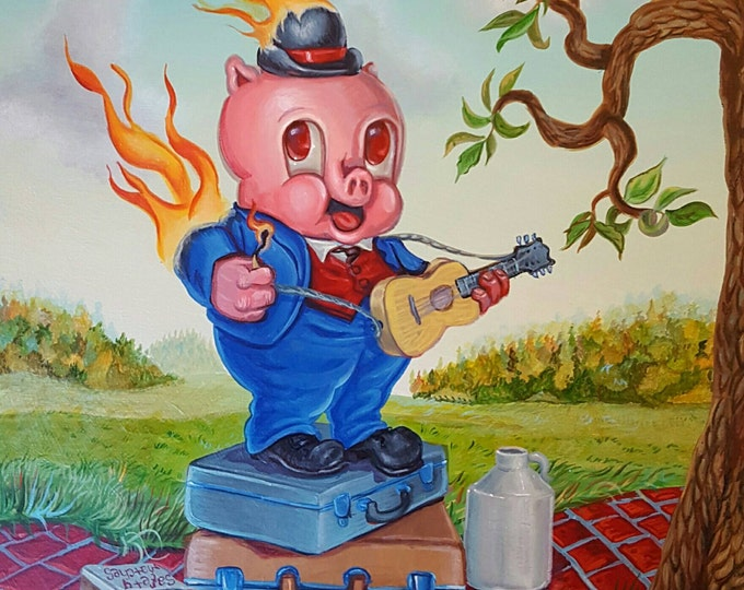 Pig on Fire - Original painting by Mr Hooper of Nashville Tennessee